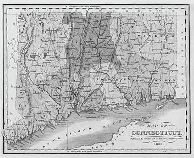 Photograph - 1835 Map Of Connecticut And Long Island Sound Historical Map Black And White by Toby McGuire
