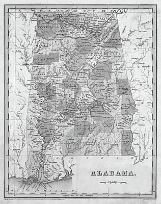 Digital Art - 1838 Map Of Alabama Historical Map Black And White by Toby McGuire