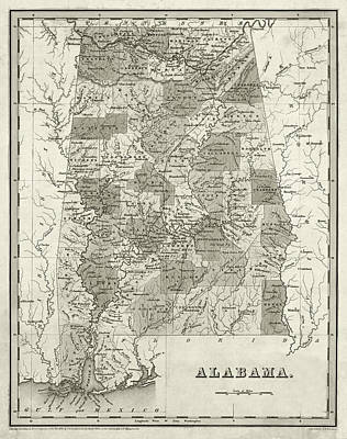 Digital Art - 1838 Map Of Alabama Historical Map Sepia by Toby McGuire