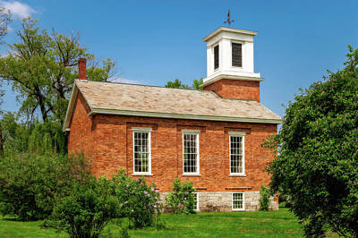 Photograph - 1840 Brick New England Meeting House  -  1840newenglandmeetinghouse185650 by Frank J Benz