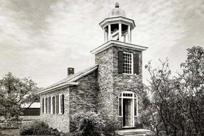 Photograph - 1840 Brick One Room School House   -   1840vermontoneroomschoolblkwhi185379 by Frank J Benz