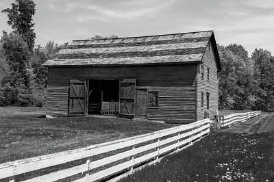 Photograph - 1849 New England Horse Barn  -  1849newenglandhorsebarnglkwhi184626 by Frank J Benz
