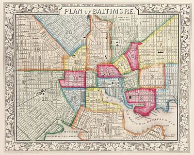 Digital Art - 1860 City Planner Map Of Baltimore Maryland by Toby McGuire