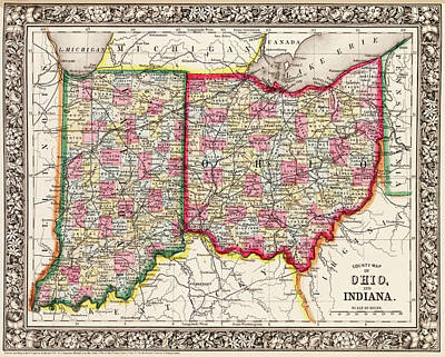 Digital Art - 1860 County Map Of Ohio And Indiana by Toby McGuire