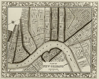 Digital Art - 1860 New Orleans City Plan Map Sepia by Toby McGuire