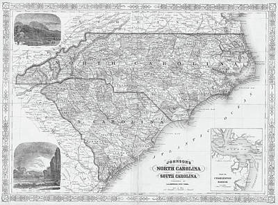 Digital Art - 1865 Map Of North And South Carolina Nc Sc Black And White by Toby McGuire