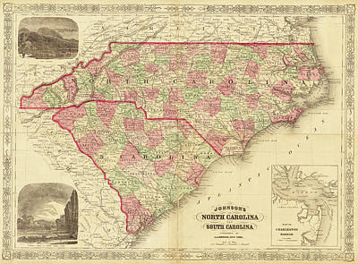 Digital Art - 1865 Map Of North And South Carolina Nc Sc by Toby McGuire