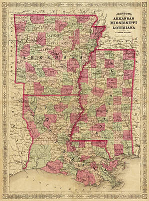 Digital Art - 1866 Map Of Arkansas Mississippi And Louisiana Historical Map by Toby McGuire