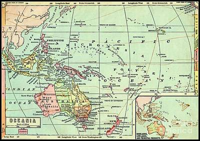 Bear Photography - 1868 Map of Oceania by Peter Ogden Gallery