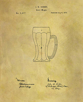 Drawing - 1872 Beer Mug Patent by Dan Sproul