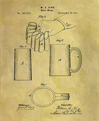 Drawing - 1873 Beer Mug Patent by Dan Sproul