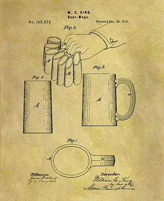 Beer Drawings - 1873 Beer Mug Patent by Dan Sproul