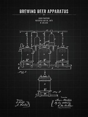 Beer Royalty-Free and Rights-Managed Images - 1873 Brewing Beer Apparatus - Black Blueprint by Aged Pixel