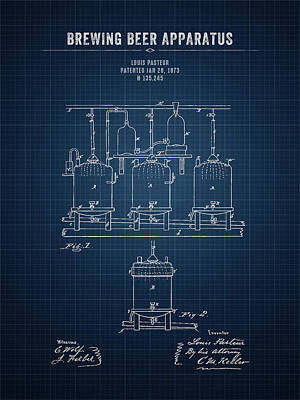 Beer Royalty-Free and Rights-Managed Images - 1873 Brewing Beer Apparatus - Dark Blue Blueprint by Aged Pixel