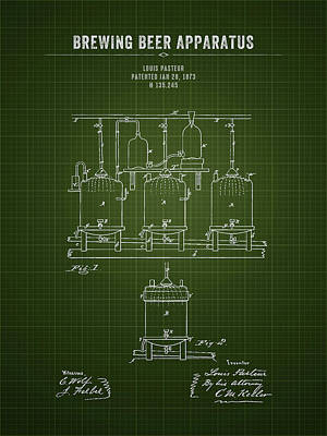 Beer Royalty-Free and Rights-Managed Images - 1873 Brewing Beer Apparatus - Dark Green Blueprint by Aged Pixel