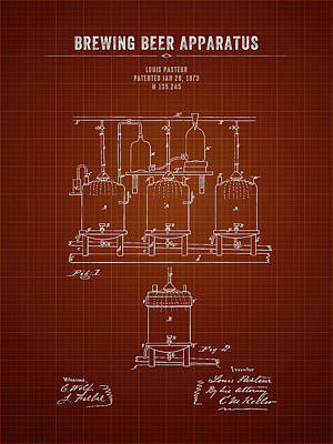 Beer Royalty-Free and Rights-Managed Images - 1873 Brewing Beer Apparatus - Dark Red Blueprint by Aged Pixel