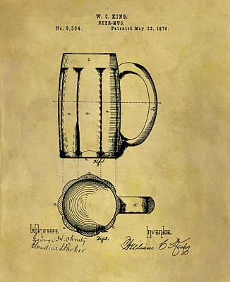 Beer Drawings - 1876 Beer Mug Patent by Dan Sproul