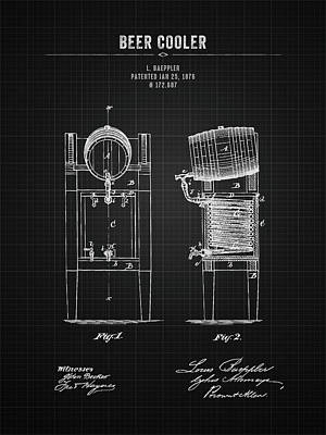 Beer Royalty-Free and Rights-Managed Images - 1876 Brewing Cooler - Black Blueprint by Aged Pixel