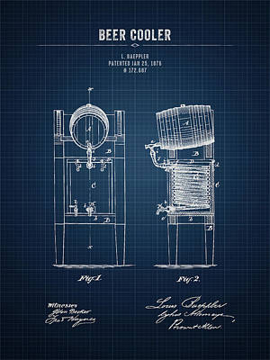 Beer Royalty-Free and Rights-Managed Images - 1876 Brewing Cooler - Dark Blue Blueprint by Aged Pixel