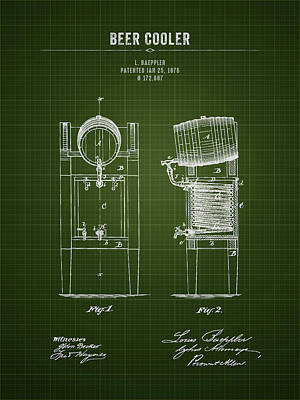 Beer Royalty-Free and Rights-Managed Images - 1876 Brewing Cooler - Dark Green Blueprint by Aged Pixel