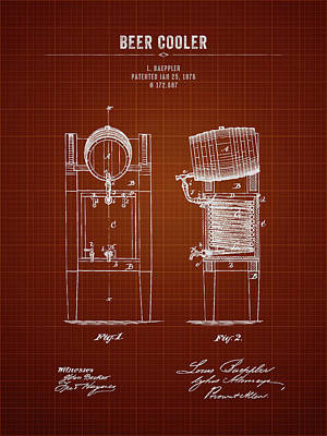Beer Royalty-Free and Rights-Managed Images - 1876 Brewing Cooler - Dark Red Blueprint by Aged Pixel