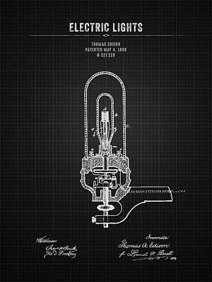 Featured Tapestry Designs - 1880 Thomas Edison Electric Lights - Black Blueprint by Aged Pixel