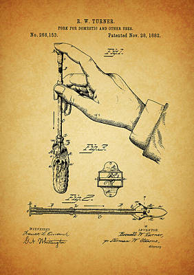 Drawing - 1882 Fork Patent by Dan Sproul