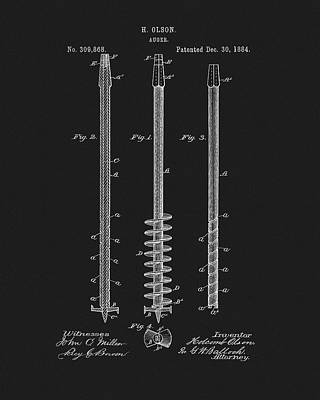Drawing - 1884 Auger Patent by Dan Sproul