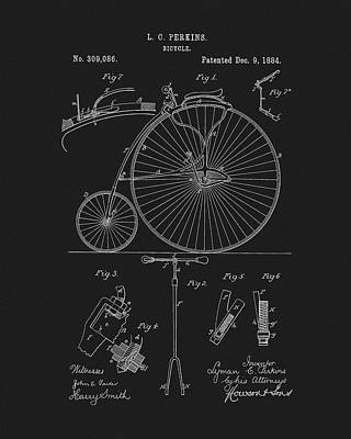Drawing - 1884 Bicycle by Dan Sproul