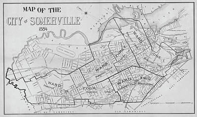 Digital Art - 1884 City Of Somerville Ma Ward Map Black And White by Toby McGuire