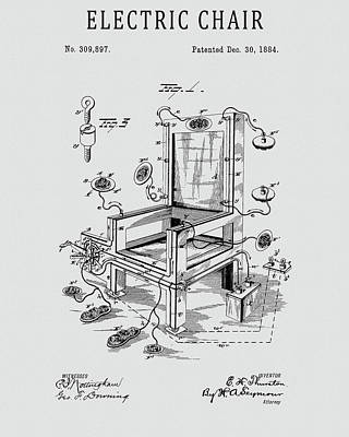 Drawing - 1884 Electric Chair Patent by Dan Sproul