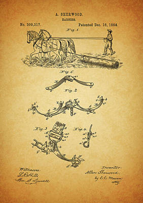 Drawing - 1884 Harness Patent by Dan Sproul