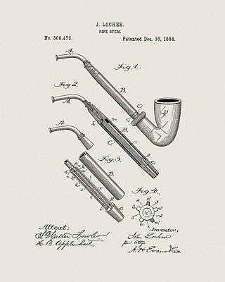 Drawing - 1884 Pipe Design by Dan Sproul