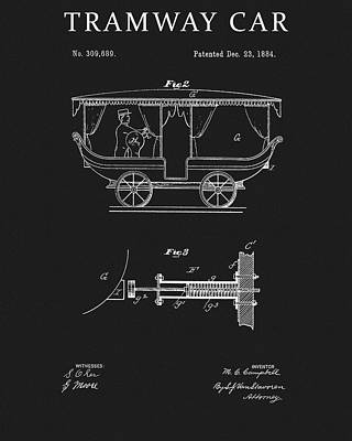 Drawing - 1884 Tram Car Patent by Dan Sproul