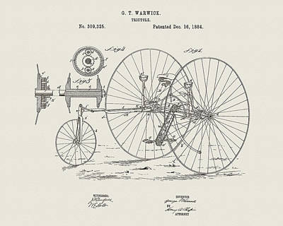 Drawing - 1884 Velocipede Patent by Dan Sproul