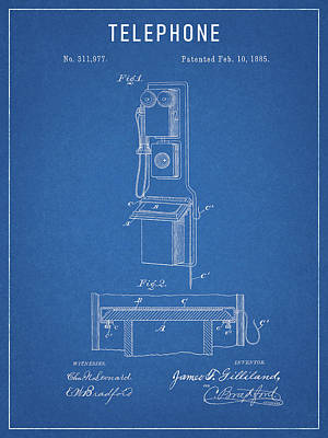 Drawing - 1885 Antique Telephone Patent Design by Dan Sproul