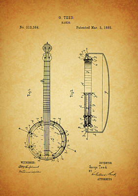 Musicians Drawings - 1885 Banjo by Dan Sproul