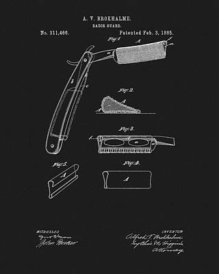 Drawing - 1885 Barber Razor Patent by Dan Sproul