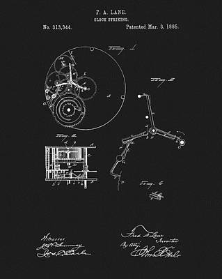 Drawing - 1885 Clock Gears Patent by Dan Sproul