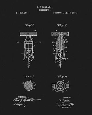 Drawing - 1885 Corkscew Patent by Dan Sproul