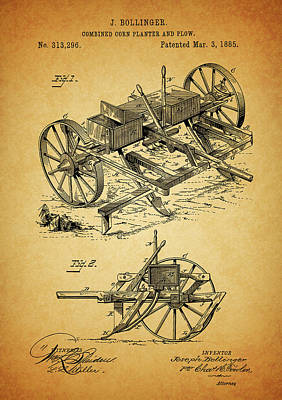 Drawing - 1885 Corn Planter And Plow by Dan Sproul