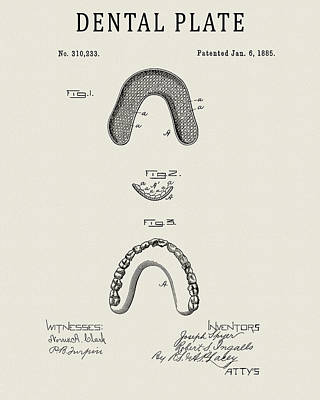 Drawing - 1885 Dentures Patent by Dan Sproul