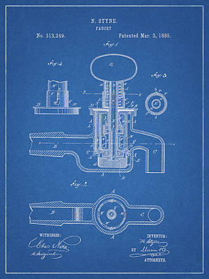 Drawing - 1885 Faucet Patent by Dan Sproul