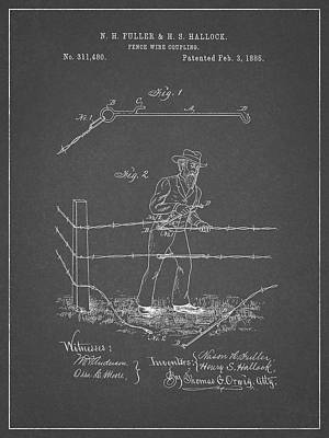 Drawing - 1885 Fence Wire Patent by Dan Sproul
