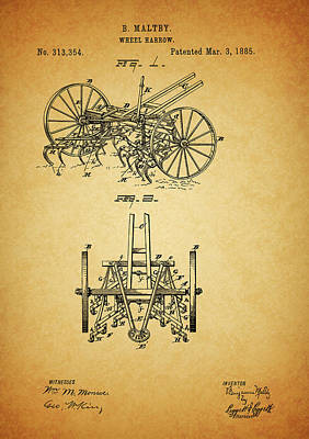 Drawing - 1885 Harrow Patent by Dan Sproul