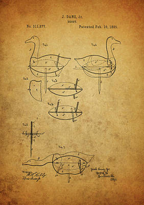 Drawing - 1885 Hunting Decoy Patent by Dan Sproul