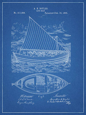 Drawing - 1885 Life Boat Patent by Dan Sproul