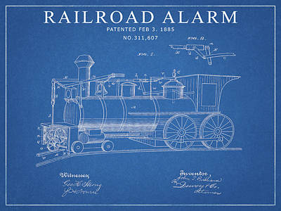 Drawing - 1885 Railroad Alarm Patent by Dan Sproul