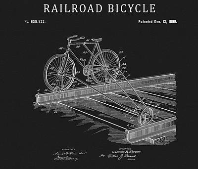 Drawing - 1885 Railroad Bicycle Patent by Dan Sproul