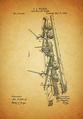 Drawing - 1885 Sawmill Patent by Dan Sproul